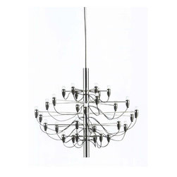 Control Brand - The Achille Chandelier - Bulbs not included. Requires thirty E14 15 watt bulbs. Designed by Gino Sarfatti. Cords in black color. Made from carbon steel. Satin nickel color. CUFT: 1.59. 33.88 in. Dia. x 26 - 78 in. H (16.764 lbs.)The Achille chandelier has many lights which exudes a soft light in your room. The style is very subdued and in a very mid century modern way.