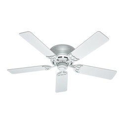 "Hunter - Hunter 52"" Low Profile III (2013) Ceiling Fan in White - Hunter 52"" Low Profile III (2013) Model HU-53069 in White with Gloss White Finished Blades."