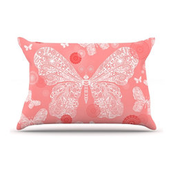 "Kess InHouse - Monika Strigel ""Butterfly Dreams Coral"" Pink White Pillow Case, Standard (30"" x - This pillowcase, is just as bunny soft as the Kess InHouse duvet. It's made of microfiber velvety fleece. This machine washable fleece pillow case is the perfect accent to any duvet. Be your Bed's Curator."