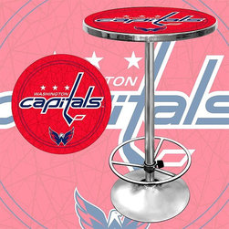 Trademark Global - Round Pub Table w NHL Washington Capitals Log - Great for gifts and recreation decor. 0.125 in. Scratch resistant UV protective acrylic top. Full color printed logo is protected by the acrylic top. Table top is trimmed with chrome plated banding. 1 in. Thick solid wood table top. Chrome base with foot rest and adjustable levelers. 28 in. L x 28 in. W x 42 in. H (72 lbs.)This National Hockey League officially licensed pub table is the perfect for your game room on Hockey Night.