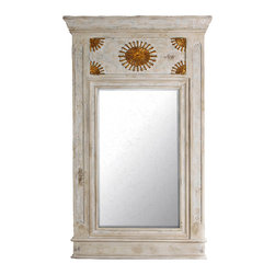 Fra Angelico Mirror - The soft, neutral finish of the Fra Angelico Mirror is made all the more distinct by the golden starbursts that enliven the front panel with a brilliant beauty. A classic rectangular frame surrounds the clear glass mirror at the center. Ideally sized and with a timeless design, the mirror bestows a cheery welcome when placed in your entryway, a touch of lustre to your living room, or a whisper of glamour to your private bath.