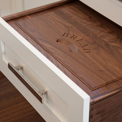 New England Design Works Showroom - Bread Drawer with Walnut Raised Panel Lid