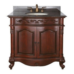 """Avanity - Avanity Provence 37"""" Single Bathroom Vanity - Antique Cherry - The Provence 36"""" vanity is offered in a beautiful distressed cherry wood finish with hand carved French details. This vanity includes a concealed drawer inside for easy storage. Coordinating pieces include matching mirrors and linen tower to complete the look. Features36""""W x 21.5""""D x 34""""HVanity only in Antique Cherry finishPoplar solid wood and veneerHand crafted detailsAntique brass finished hardwareAntique brass finished hardware2 soft-close doors1 interior soft-close drawerAdjustable height levelers How to handle your counterSpec Sheet Natural stone like marble and granite, while otherwise durable, are vulnerable to staining from hair dye, ink, tea, coffee, oily materials such as hand cream or milk, and can be etched by acidic substances such as alcohol and soft drinks. Please protect your countertop and/or sink by avoiding contact with these substances. For more information, please review our """"Marble & Granite Care"""" guide."""