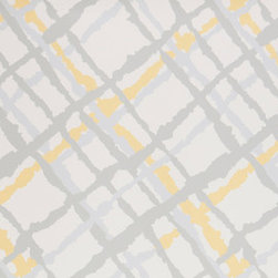 Kimberly Lewis Home - Beverly Wallpaper Sheet, Sunpetal - Maybe it's time you go off the grid. The fun colors and stylized plaid of this wallpaper add a stylish slant sure to wake up any space.