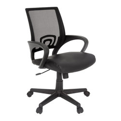 Regency - Regency Curve Leather and Mesh Swivel Chair in Black - Regency -Office Chairs -2900BK -The Curve swivel offers value and style. The bonded leather seat and mesh back supply comfort as well as support. The sleek style and design of the armrests and back curve right around your body for a perfect fit. This simple yet stylish will be a great addition to your office.