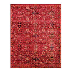 """Nourison - Nourison Timeless TML07 5'6"""" x 8' Red Area Rug 21055 - Brilliantly saturated crimson lights up the room in this glorious interpretation of a classic masterpiece in the collection of the Metropolitan Museum of Art. Catalogued as an Indian carpet in a """"floral stem and panel"""" design, dating to the first half of the 17th century, the original is knotted of very fine sheep's wool on cotton and presents a dazzling array of thirteen colors dominated by deep red and royal blue. Both the original and its modern version display a tour de force of Mughal motifs that combine floral flourishes and leafy garlands with the formal geometry of cartouche elements and fanciful eight-pointed stars. Scintillating and special, the modern piece is elegantly detailed in sapphire, jade and carnelian, and is completed by a narrow-red-gold border."""