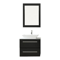 """JWH Imports - 24"""" Carina Single Vessel Sink Wall Mounted Modern Bathroom Vanity with Stone Top - Get a grip on your bathroom decor and with this modern and unique vessel sink and vanity. Instantly your water closet clutter will feel tidy with the compact and sturdy all-in-one — easy to clean vanity and sink console. The microlite stone countertop, wide ceramic basin and oak wood materials are extra stylish and durable."""