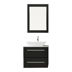 Carina Single Vessel Sink Wall Mounted Modern Bathroom Vanity with Stone Top