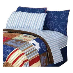 Jay Franco and Sons - 4 Pieces Disney Engine Express Striped Full Bedding Sheet Set - Features: