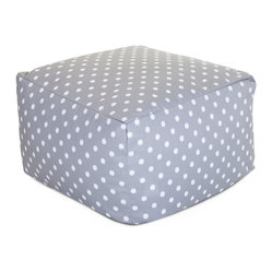 Outdoor Gray Ikat Dot Large Ottoman