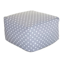 Majestic Home - Outdoor Gray Ikat Dot Large Ottoman - Roomy and comfy with a cute modern polka dot print, this ottoman could quickly become one of the most coveted items in your house. You'll be pulling it out for an impromptu coffee table on the deck, an extra seat for your kid's buddy on movie night or a cushy footrest for the recliner. The beanbag filling is 50 percent recycled beads and the cover is outdoor-safe and removable for easy cleaning.