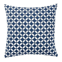Audrey Eyelet Appliqué Pillow Cover, Navy - Blue and white pillows layered on a sofa add such a textured look.