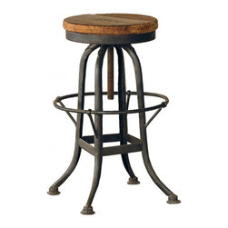 Kathy Kuo Home - Oleg Industrial loft Iron Base Reclaimed Wood Bar Counter Stool - Give your kitchen counter an industrial-chic feel with this rustic stool. The sturdy iron base is masterfully crafted into shapely legs with a circular foot rest. You'll adore the reclaimed wood seat, with its adjustable height and pleasing classic circular shape.