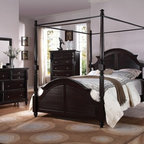 "Acme - 5 PC Charisma Collection Dark Espresso Finish Wood Queen Canopy 4 Poster Bed Set - 5-Piece Charisma collection dark espresso finish wood queen canopy 4 poster bed set with turned post ends and feet and louvered style paneled ends. This set includes the queen bed set, one nightstand, dresser, mirror and chest. Queen canopy 4 poster bed set with turned post ends and feet and louvered style paneled ends. Nightstand measures 28"" x 19"" x 30"" H. Dresser measures 64"" x 19"" x 41"" H. Mirror measures 44"" x 32"" H. Chest measures 36"" x 19"" x 49"" H. Some assembly may be required. TV console also available separately and at additional cost and measures 48"" x 19"" x 41"" H. Cal king and Eastern king available at additional cost."