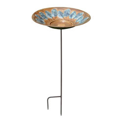 Achla - Large Leaf Bird Bath - Includes Roman bronze stake. Embossed painted leaves. 90 days warranty. Made from brass. Made in India. No assembly required. 16 in. Dia. x 4 (3 lbs.)