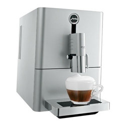 "Jura - Jura ENA Micro 9 One Touch Automatic Coffee Center / Espresso Machine, Silver - Ultra-compact: Measuring in at 9 in wide, 17.5 in deep and 12.7 in high. Programmability: Program four different cup sizes (machiatto, cappuccino, espresso and coffee) and select from two dosage levels (6 or 10 grams of ground coffee) and two temperature settings to brew the perfect cup. One Touch Technology: Offers an impressive range of specialities at the simple touch of a button: latte macchiato, cappuccino, cafe"" cre""me, espresso, hot water serving. The newly developed micro brewing unit ensures espresso quality of the highest standard. Conical Burr Grinder: The professional grade grinder gently grinds beans before brewing.Aroma Preservation Seal: A protective seal on the bean hopper keeps beans at their freshest. Height-adjustable Coffee spout. The cup clearance ranges from 2-5.5 in, making it more compatible with larger travel mugs.Cappuccino Frother: Creates whisper light foam and steams milk to higher temperatures than many superautos.Bipass Doser: Brew with ground coffee using the doser located on the upper left of the machine.Energy Efficient: The machine automatically swit to energy-saving mode after five minutes, and turns off after two hours. A Zero-Energy switch ensures the machine draws no energy when not in use.CLEARYL Water Care System. Removes chlorine, lead, aluminum and copper from your tap water for a better tasting coffee. A special organic additive removes almost all calcium and eliminates decalcifying altogether. Two step pre""fusion cycle moistens and conditions the ground coffee. Maximum flavor extraction with perfect crema topping Stainless Steel Boiler."