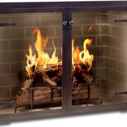 Hammered Edge Fireplace Glass Door - Custom Product -