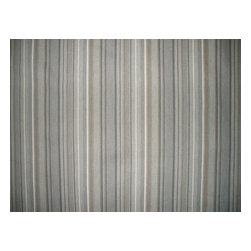 """Close to Custom Linens - 18"""" California King Bedskirt Tailored Premier Stripe Grey Beige - Premier is a varied width stripe in shades of grey on a neutral beige linen-textured background"""