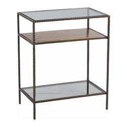 Arteriors - Sinclair Side Table - Display select cherished objects on a shelf simple enough to play the foil for your collection yet stylish enough to engage with your modern decor. Here, a hammered iron frame holds oxidized brass and clear glass surfaces.