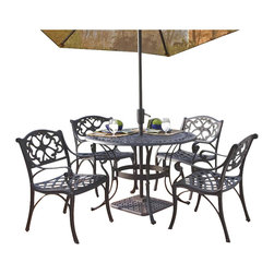 "Home Styles - Home Styles Biscayne 5PC 42"" Round Outdoor Dining Set in Black Finish - Home Styles - Patio Dining Sets - 5554308 - With its intricately designed metal work our Outdoor Dining Table Set will certainly become the focal point of the deck or patio!_� Constructed of solid cast aluminum it is heavier than hollow aluminum or tubular outdoor furniture and is durable lasting year after year._� Need an added incentive?_� It's maintenance free!_�_� Also it is designed to accommodate an outdoor umbrella and umbrella stand._� The set includes the 42"""" Table and four Arm Chairs._�"