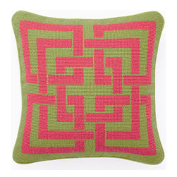 "Trina Turk - Trina Turk Shanghai Links Green/Pink Needlepoint Pillow - Exert style and sophistication with the petite Shanghai Links needlepoint pillow by Trina Turk, featuring a geometric pattern in pink and green. Handcrafted with a focus on style for your bedroom, den or living space. Pillow measures 12"" x 12""; Hidden zipper closure; Down pillow insert included"