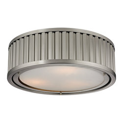 Elk Lighting - Elk Lighting Linden Collection 3 Light Flush Mount In Brushed Nickel - 46111/3 - - 3 Light Flush Mount In Brushed Nickel - 46111/3 in the Linden collection by Elk Lighting The Linden collection features a drum shape made from a textural wall of metal or crystal.  A frosted glass diffuser (metal tube items) or textured clear glass (crystal items) is cleverly recessed into the drum for a smooth, seamless appearance. Various finishes, including Polished Nickel, Brushed Nickel, Aged Brass and Oil Rubbed Bronze are adaptable into any color scheme.  Flush mount (1)
