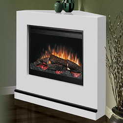 """Dimplex - Milan White Wall or Corner Electric Fireplace - BSPC-26-CON - Enjoy contemporary good looks and flexibility with the Dimplex Milan White Electric Fireplace Convertible Mantel that can be installed either as a wall fireplace or as a corner unit. Don't worry about vents or gas lines because all that's required to run is a 120v outlet. """"Intelligent"""" heat adjusts the fan to maintain temperatures with ultra quiet operation. Supplemental heating is available for rooms up to 400 square feet."""