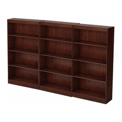 South Shore - South Shore Office 4 Shelf Wall Bookcase in Royal Cherry - South Shore - Bookcases - 7246767CPKG - South Shore 4 Shelf Bookcase in Royal Cherry