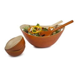 Bamboo Bucket Bowl - Pumpkin - Crafted from 100% organically grown bamboo, the artistic design of this large pumpkin-colored bowl is both chic and practical. Great for salads, fruits, breads and chips, this colorful Core Bamboo bowl is perfect for serving with cut out handles that make taking from kitchen to tabletop a breeze. Mix and match colors to create a unique look for every occasion.