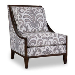 A.R.T. - A.R.T. Morgan Wood Frame Accent Chair in Charcoal - Dramatic shaped sofa designed with six legs in rich brindle finish, this Morgan Living Room Collection is sure to set your living room a haven to relax and enjoy. In charcoal grey textured fabric accented with stripes, velvet and classic framed medallion, button tufted back and tapered leg support. This contemporary styled Morgan Living Room Collection with modern transitional appeal, is a classy and elegant addition to your home that makes a perfect fit for your existing living room furniture or complete your living room set with the rest of the collection.
