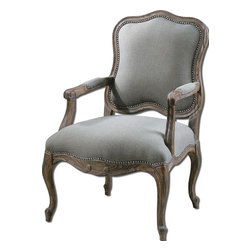 "Uttermost - Uttermost Willa Steel Gray and Tan Arm Chair in Ash Gray Wash - Pine and white mahogany frame with reinforced joinery, hand carved and hand finished in an ash gray wash over natural wood grain. Woven polyester in steel gray and tan with individually hammered nail accents. Seat height is 20""."