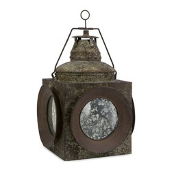 "IMAX - Antique Naval Lantern - Reminiscent of an old Naval lantern, this item has antiqued iron and glass and holds pillar candles. Item Dimensions: (20""h x 13.25""w x 13.25"")"