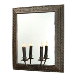 BoBo's Intriguing Objects - Candlestick Sconce - Inspired by the folk phenomenon known as Tramp Art — pieces created by hobos from the end of the Civil War through the Great Depression — this piece brings a sense of both history and style to your space. The candelabra and intricately framed mirror will add distinction to your decor.