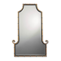 Uttermost - Uttermost Himalaya Iron Mirror - Uttermost Himalaya Iron Mirror is a Part of Carolyn Kinder Designs Collection by Uttermost This flat top, arch mirror is framed by an antiqued gold iron rod with matte black inner lip. Black iron bands accent the frame. Mirror is beveled. Wall Mirror (1)