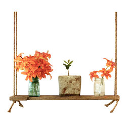 Suspended Rope Shelf - Barn Wood - This unique shelf works great to display photos and other keepsakes. However, it really works great to hold plants because you can suspend it in from of a window so the light will be just right. And it keeps the plants from taking up space on your windowsill or floor.