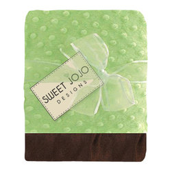 Sweet Jojo Designs - Minky Dot Chenille Baby Blanket in Sea Green with Brown Satin Border - Baby your baby with luxuriously soft minky fabric. This cozy sky blue blanket is decorated with gently raised dots that add texture and style. The matching silk trim border provides another smooth feel for baby to explore and cuddle. It's the perfect shower gift!