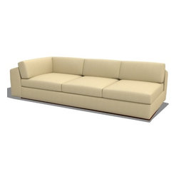 True Modern - Jackson Armless Split Sofa - Get creative and design the living room of your dreams. This modular section can be paired with any of the Jackson sectional pieces to create the perfect shape that your room needs. The oversized seat and pillows make it the ultimate lounger, but the clean design still keeps it modern and hip. The seat cushions are wrapped in down and the back pillows are stuffed with luxurious blend of feather and down as well. Our exclusive baffled system helps keep the feathers in place so you won't need to constantly fluff the pillows. Designed by: Edgar Blazona Features: -Material: 100% Polyester.-Durable and soft with a great multi tone texture.-Wooden base is hidden so the sofa really appears to be floating on air.-Low slanted back let's you lay back, stretch out and relax.-Jackson collection.-Collection: Jackson.-Distressed: No.-Country of Manufacture: United States.Dimensions: -Dimensions: 17'' - 28'' H x 96'' W x 42'' D.