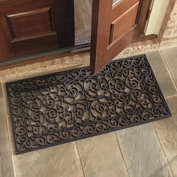 Ballard Designs - Highgate Doormat -Double Door - We've lowered the price on these Ballard favorites, so they're welcome at every door. Designed with the look of ornate iron scrollwork, they're actually made of virtually indestructible molded rubber. Impervious to cold, heat and water, they stay put when you're scraping your shoes and rinse clean with a hose. Imported.