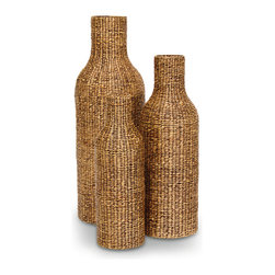 Palecek - Rib Weave Bottle Urns, Set Of 3 - Water hyacinth is woven to form urns. Urns feature open bottoms for nesting. Warm brown wash. For decorative purposes only.