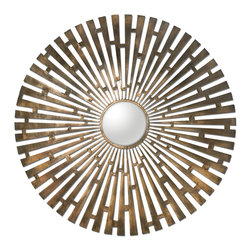 Uttermost - Tremeca Brass Starburst Mirror - Hand forged metal finished in plated, brushed brass with light antiquing and a center convex mirror.