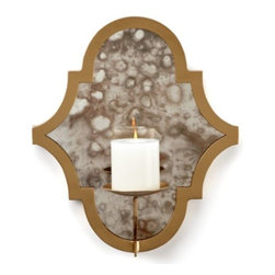 Z Gallerie - Meridian Wall Sconce - Decoratively distinct with a modern flair our Meridian Wall Sconce layers your walls with soft hues of gold and reflective candlelight. The quatrefoil inspired design, finished in striking gold hue, surrounds antiqued mirror used to reflect and enhance the candlelight. An attached metal plate supports a standard 3 inch diameter pillar candle (not included). Exclusive to Z Gallerie.