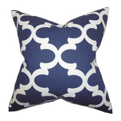 "The Pillow Collection - Titian Geometric Pillow Blue 20"" x 20"" - Create the perfect blend of comfort and style to your living space with this plush accent pillow. This throw pillow offers a unique geometric design in white and printed on a blue background. This decor pillow looks great on your sofa, bed or chair. Easy to pair with solids and other patterns. Made of 100% soft cotton material."
