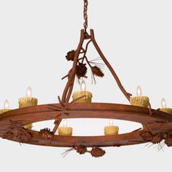 Ponderosa Pine Rust Steel Creek Nine-Light Chandelier