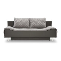 Fredo Sofa Bed with Storage - Contemporary authentic European design with storage and bed function. Chromed legs. Easy open and close mechanism.  Best choice for luxe house or condo. Ships across US.
