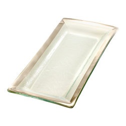 """Annieglass - Appetizer Tray Platinum Trim - Roman - Annieglass handmade Roman Antique collection appetizer tray in platinum trim. Chip resistant, safe for dining, dishwasher safe and highly durable. Makes a great wedding gift, birthday gift, baby shower gift, or any other special occassion! Handmade glass 13 1/2 x 6"""" appetizer tray produced in the U.S.A. Durable, chip-resistant and dishwasher safe. Banded with genuine platinum. Each Annieglass piece is handmade from architectural quality glass with Annie Morhauser's trademark slumping process  which is a uniquely developed glass bending technique. Each piece is highly durable, dishwasher safe, chip resistant, and safe for dining."""