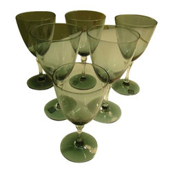 "Lenox Sapphire Goblets - This listing is for five 7"" water goblets and one 5 3/4"" wine glass that were made by Lenox in the 1960s.  The pattern is Sapphire and is hand blown with a smoky topaz /crystal combination. No chips, cracks or damage to these pieces.  Great for a Mid-Century setting or to help complete a set."