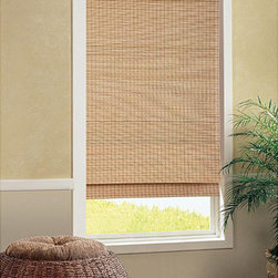 UHF - Tiki Cordless Bamboo Roman Shade - Cover any window in style with this lovely bamboo roll-up shade. The easy-to-install and easy-to-operate shade still allows some light to filter through,and the neutral tone of natural bamboo is sure to tastefully complement almost any decor.