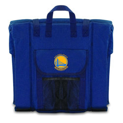 Picnic Time - Golden State Warriors Stadium Seat in Navy - The Stadium Seat is ideal for anyone who enjoys sporting events, concerts, or other arena activities. This padded seat is made of durable 600D polyester and provides maximum seat support, which is especially useful when sitting on hard bleacher seats or benches. EPE foam in the seat's core also insulates your seat from cold bleachers. A large zippered pocket keeps all of your essentials within reach. Convenient carry straps allows the seat to be carried as a folded tote. You'll want to take the Stadium Seat to every spectator event to ensure your seating comfort.; Decoration: Digital Print