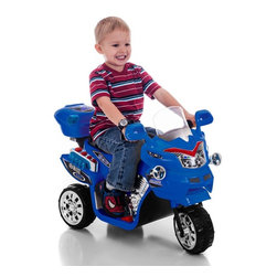 Lil Rider - Lil Rider FX 3 Wheel Motorcycle Bike Battery Powered Riding Toy - Blue - 80-KB90 - Shop for Tricycles and Riding Toys from Hayneedle.com! Give them wheels and give them wings; they'll grow up to do great things. Little eyes will light up when they see Lil Rider FX 3 Wheel Battery Powered Bike - Blue! They'll want to cruise the neighborhood the park or the backyard. Chrome wheels and realistic details enhance the fun. Little riders can turn the headlight on and off shift into forward and reverse gears and play sound effects. Battery recharges by plugging in to a standard AC110V wall outlet. Requires adult supervision. Keep children away from roads and moving vehicles.