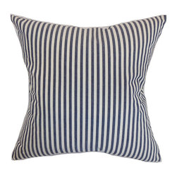 The Pillow Collection - Neptune Blue 18 x 18 Stripes Throw Pillow - - Pillows have hidden zippers for easy removal and cleaning  - Reversible pillow with same fabric on both sides  - Comes standard with a 5/95 feather blend pillow insert  - All four sides have a clean knife-edge finish  - Pillow insert is 19 x 19 to ensure a tight and generous fit  - Cover and insert made in the USA  - Spot clean and Dry cleaning recommended  - Fill Material: 5/95 down feather blend The Pillow Collection - P18-D-32496-MARINE-C100